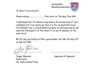 World Cup Excuse Note