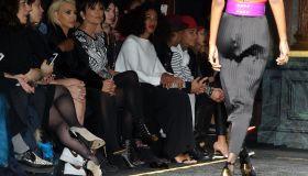 Kim Kardashian, Kris Jenner, Solange Knowles, and Kanye West attend Balmain show during Paris Fashion Week