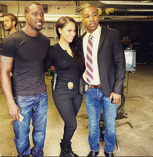 Lala Anothy and Lance Gross movie set