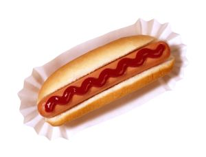 Wiener with ketchup
