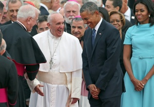 Pope Francis and President Obama Laugh