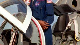 Science Mission Specialist Mae Jemison prepares to