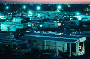 USA, Texas, Pharr, mobile home park illuminated at night