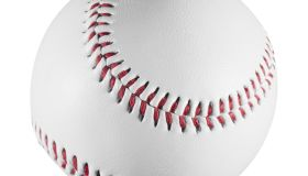 Red and White Baseball on a white background with clipping path