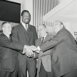 Bill Russell Joining Hands with Officials
