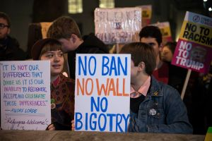 Thousands of protesters at Downing Street, against Donald...