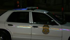 Editorial use - Close up of a Police car with flashing lights
