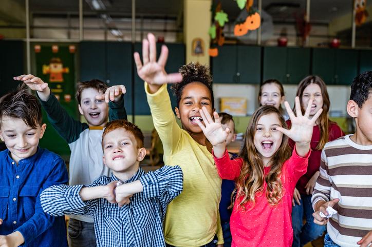 Mischief school kids feeling frustrated in the classroom.