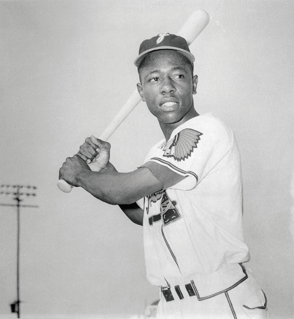Hank Aaron Holding Baseball Bat