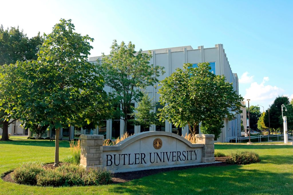 Entrance sign into Butler University in Indianapolis