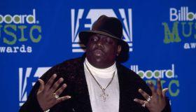 Notorious B.I.G. AKA Biggie Smalls Receives Billboard Music Award.