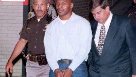 Convicted rapist Mike Tyson (C) leaves t