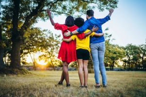 Embraced family in the park