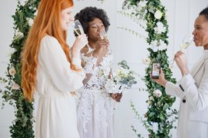 Bride talking to her friend via video call
