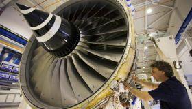 Enginer In Jet Engine Factory, Derbyshire, UK